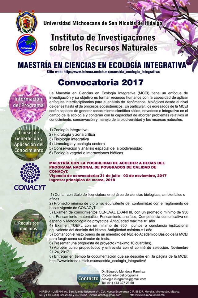 INIRENA maestría cienias ecología integrativa cartel